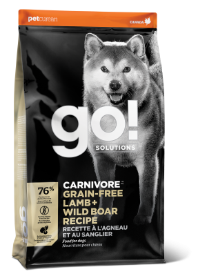 GO! CARNIVORE Grain Free Lamb + Wild Boar Recipe for dogs  22 lb